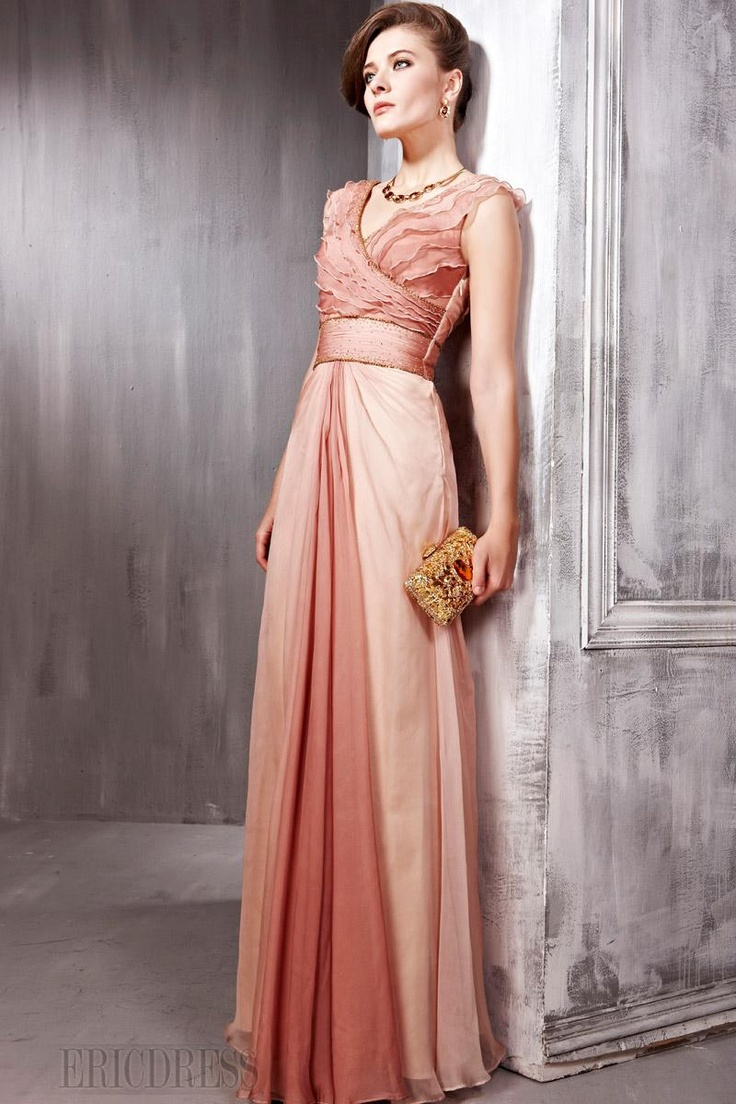 Charming A-line V-neck Natural Waist Floor-length Evening Pageant Dress