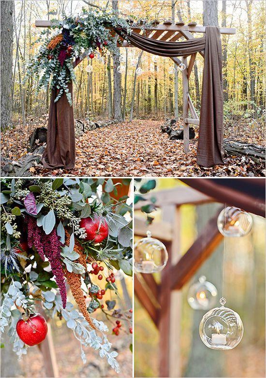 fall inspired wedding arbor