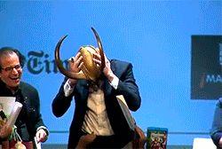 Tom Hiddleston with the Loki helmet. Times Talks Madrid (22.09.2012). Video: https://www.youtube.com/watch?v=416CKgtG1I4&feature=youtu.be/ https://www.youtube.com/watch?v=lD-E-ddTp8E