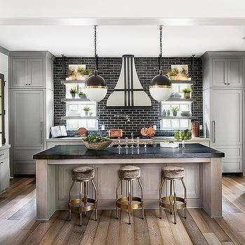 Best Gray Kitchen Cabinets With Black Brick Tile Backsplash 640 x 480