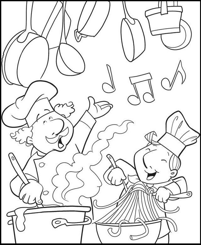 Fun Chef Cooking In The Kitchen Coloring Page Food Coloring