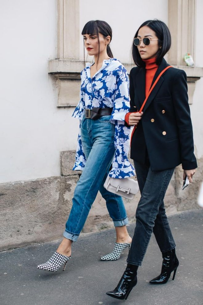 Printed bell sleeve tops, mules, and patent ankle boots street style