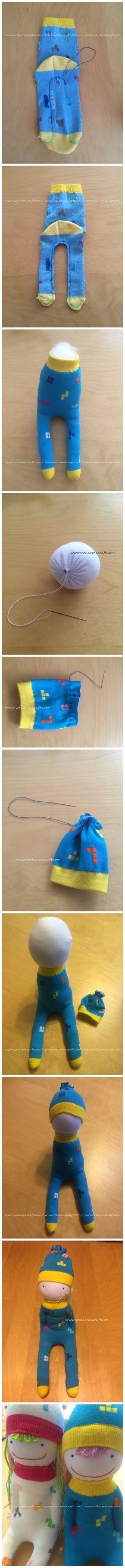 Hoe to make socks dolls DIY step by step tutorial instruction                                                                                                                                                                                 More