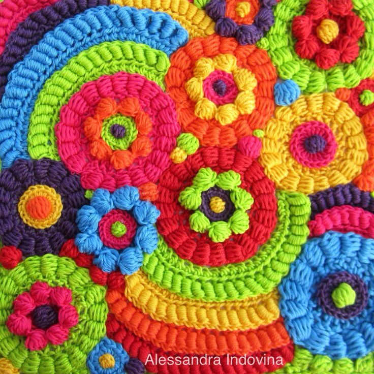 """Freeform crochet  Quadro """"Arcobalenando"""""""