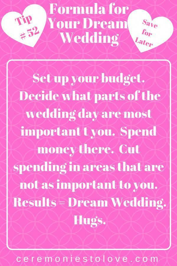 Here Is A Formula To Help Your Have The Perfect Wedding Like It Or Not Your Wedding Budget Is The Basis For Wedding Planning Tips Wedding Tips Wedding Advice