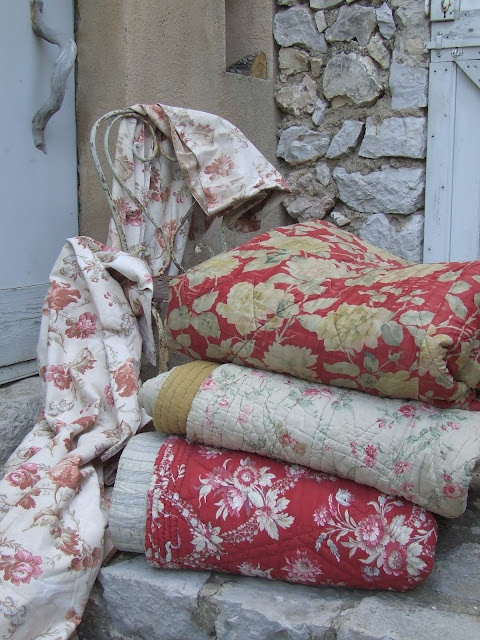 Found in Provence-hand sewn and hand quilted vintage quilts with wool filling. | My French Country Home ᘡղbᘠ