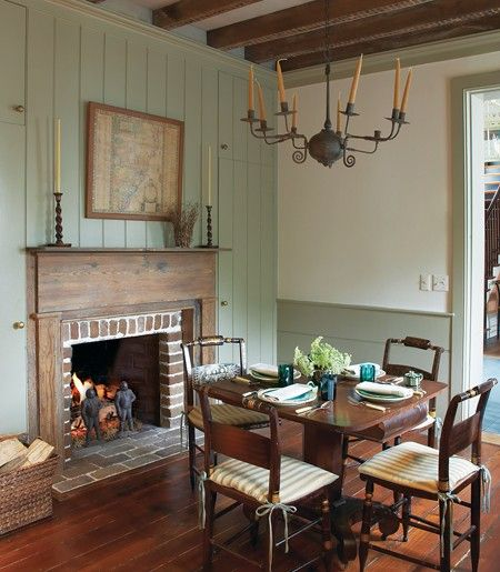 Classic Country Fireplace    Soothing colours and antique wood furniture contribute to a farmhouse-inspired space (note door frame is same color as the panelling ) LOVE those chairs