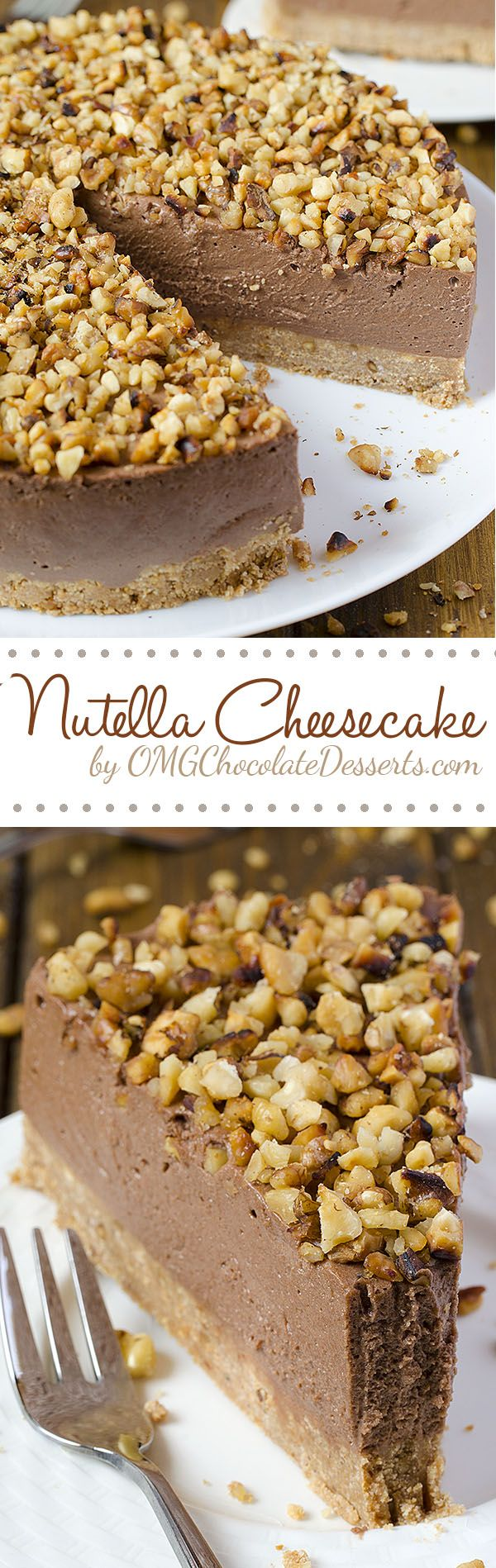 Quick but a decadent cake at the same time - Nutella Cheesecake. All you need is Graham Crackers, cream cheese, Nutella and some nuts, and only 40 minutes.