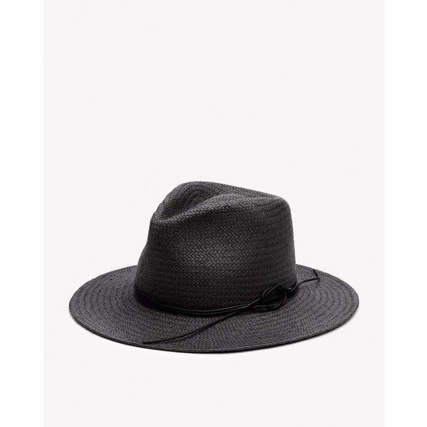 Packable Straw Fedora ($225) ❤ liked on Polyvore featuring accessories, hats, black, straw fedora hat, rag bone hat, straw fedoras, band hats and straw hat