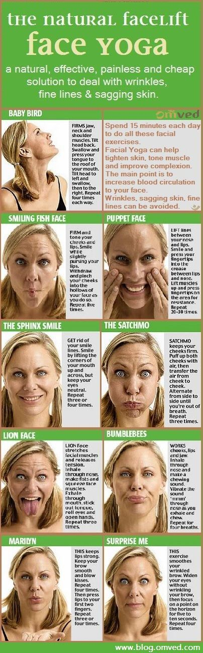 FACELIFT without surgery! Facial yoga are face exercises based on yogic rules. Practised since millennia, these are believed to tone facial muscles, erase fine lines, soften wrinkles and prevent new ones from forming! Designed to regenerate the 57 muscles in the face and the neck, increase blood circulation, release stress, strengthen your muscles and restore your natural youth and glow! (Pic courtesy; onfemale.com)
