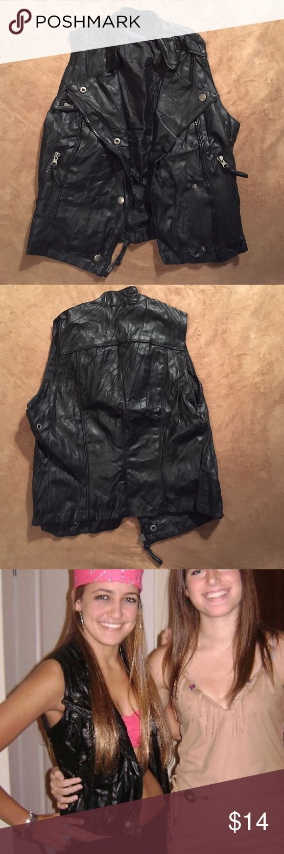Miley Cyrus Juniors Faux Leather Motorcycle Vest Womens