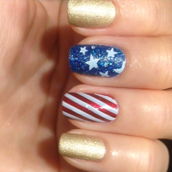 "4th of July manicure. OPI ""I'm Not Really A  Waitress"", ""Get Your Number"", ""Love. Angel. Music. Baby"" aka L.A.M.B. Born Pretty stamping plate BP-L006"