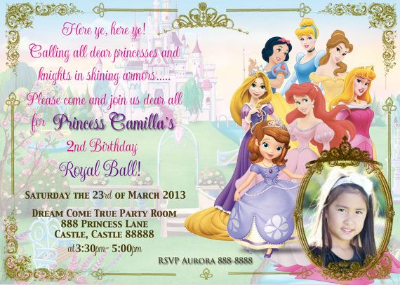Disney Princess Party Invitation by MilanaNashDesign on Etsy, $10.00