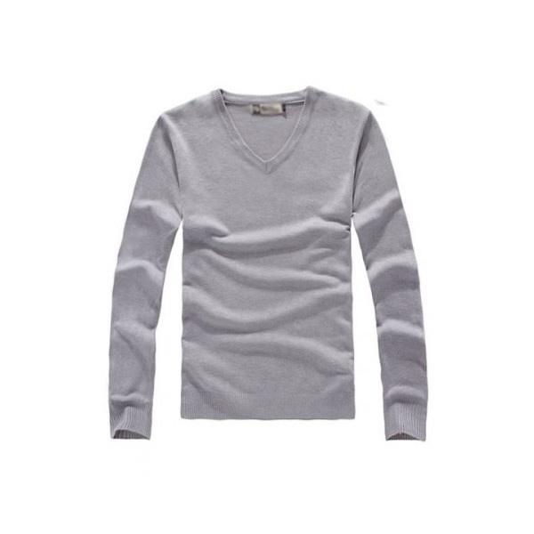 Buy Light Grey Slim-Fitting V-Neck Long Sleeves Cotton Men Shirt... via Polyvore