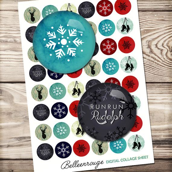 Snowflake digital collage sheet, circle collage sheet, winter bottle cap, glass dome paper, digital download, 14mm to 30mm circles