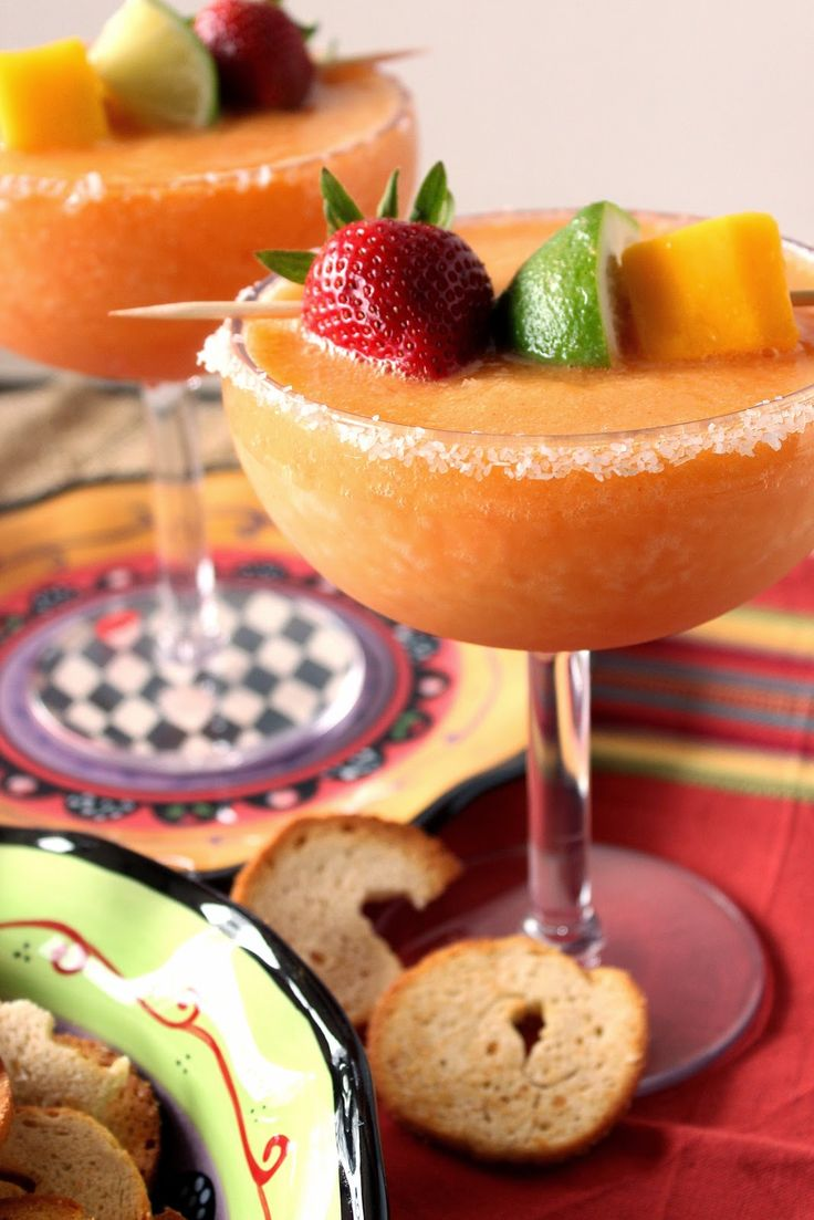 Frozen Mango Strawberry Margarita Recipe via Kudos Kitchen By Renee  #drinkrecipe #cincodemayo