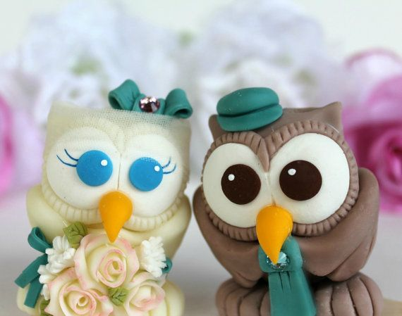 Love bird owl wedding cake topper with banner by PerlillaPets