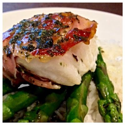 Rockling Wrapped in Prosciutto with Basil Butter Sauce