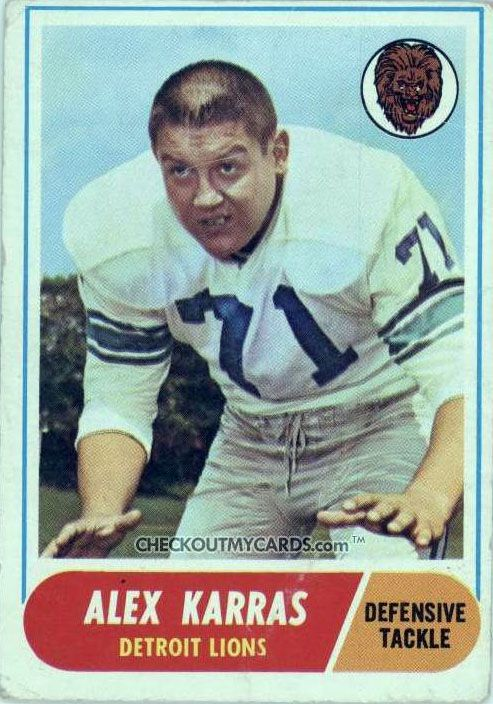 Alex Karras' 1968 Topps Detroit Lions football card