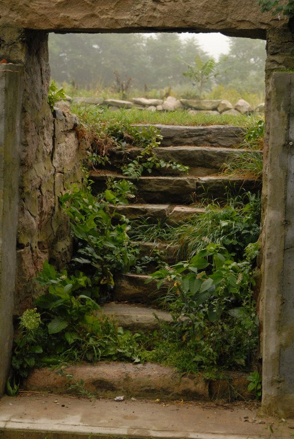 Mystic, CT. Old Staircase by ~J525 on deviant Art. Old stone house, most likely constructed in the 1800's only the stone remains. Sept. 2008.
