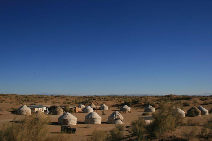 A field of Yurts Kyzyl Kum Desert