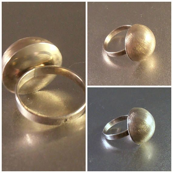 Sterling Dome Ring Mid Century Modernist Space Age Subtle