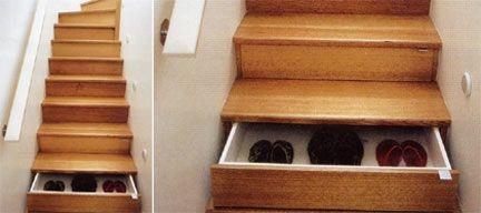 cassetti nei gradini delle scale