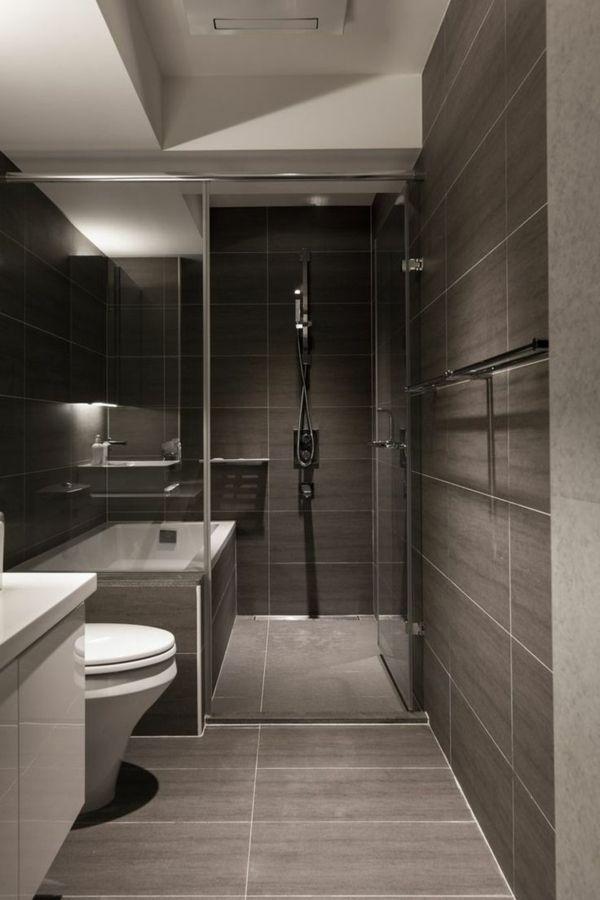 salle de bains grise avec un plafond blanc