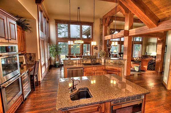 Best 302 Log style homes images on Pinterest | Log cabins, Log ... Log Home Designs Open Kitchen Living Area on open living dining space, luxurious open house designs, open space home designs, open floor plan house designs, space room designs, open kitchen living dining room designs,