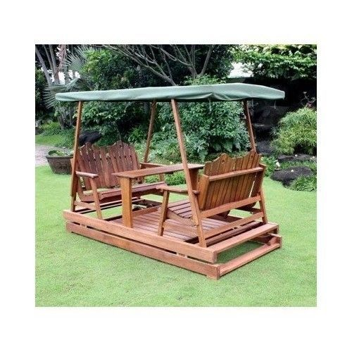 Beautiful Garden Glider Deluxe Wooden Patio Double Swing Canopy Outdoor Backyard  Furniture