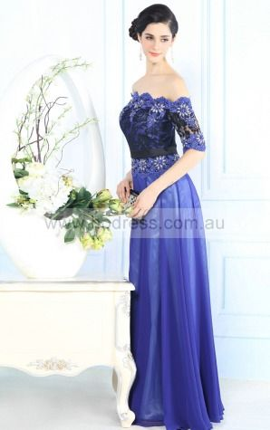 Polyester Off The Shoulder Empire A-line Floor-length Bridesmaid Dresses 0190938--Hodress