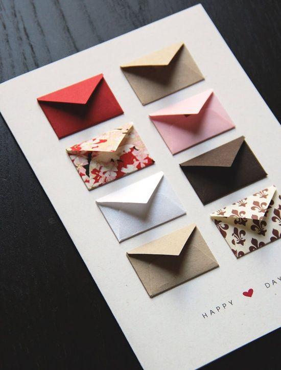 Anniversary Card Idea: Attach one mini envelope for each year together and write a favorite memory from each year!!