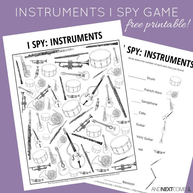 Free printable musical instruments themed I Spy game for kids from And Next Comes L