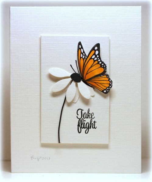 handmade card ... beautiful!!!! ... colored butterfly on a nearly all white card ... luv the design and clean and simple look ...