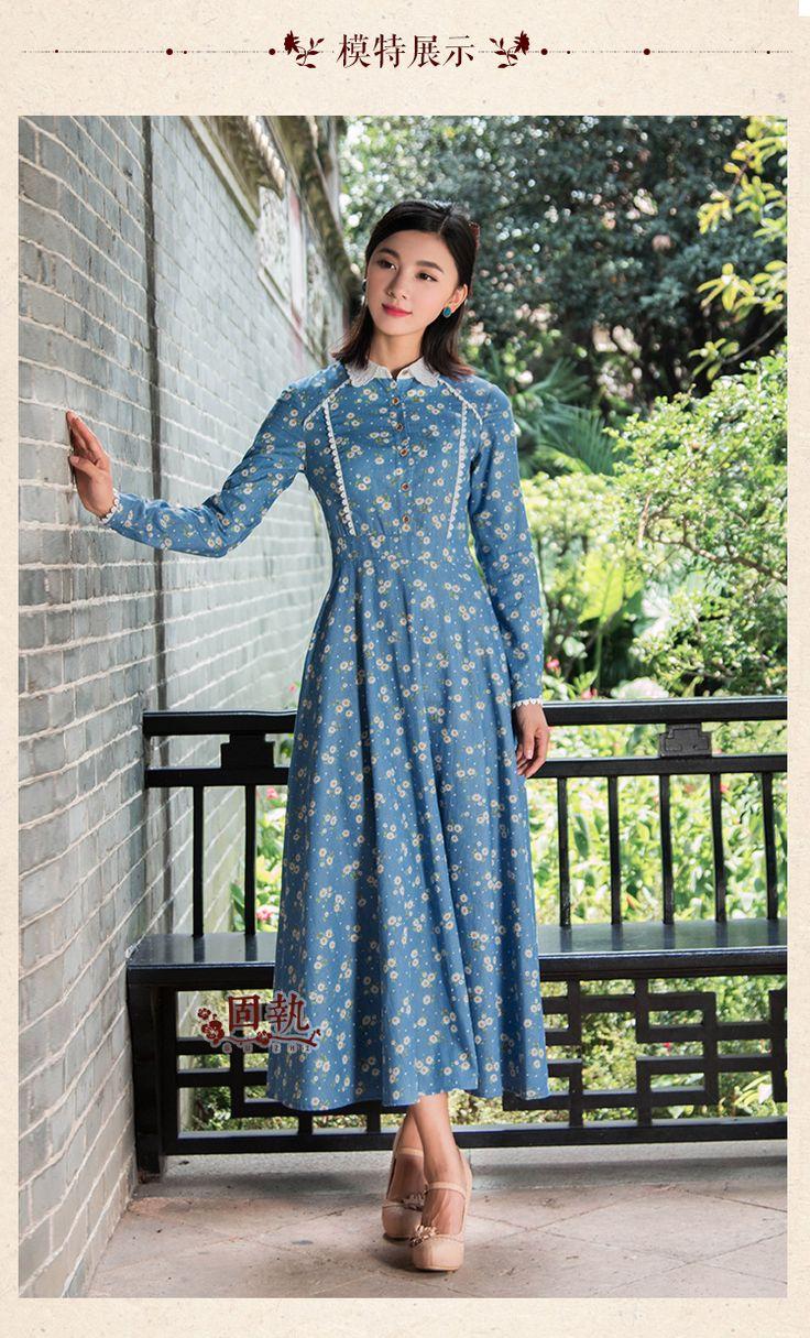 Шифоновые платья - Упрямый 2016 женщин осень новый литературный винтажный маленькая Маргаритка принт кружева с длинными рукавами платье
