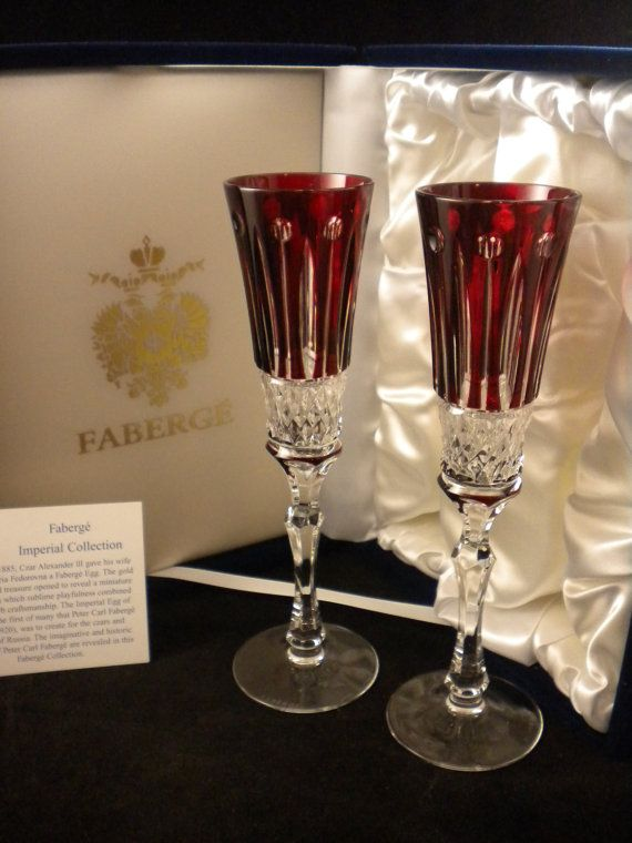 Faberge Xenia Ruby Crystal 2 Champagne Flutes Cut By Estatejubilee 374 99