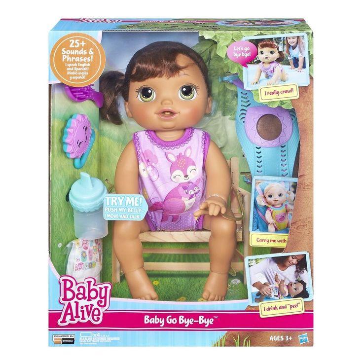 Baby Alive Baby Go Bye-Bye Brunette Doll Crawls Drinks Wets English Spanish #HasbroBABYALIVE