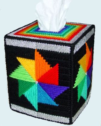 Boutique Size Tissue Box Cover RAINBOW SWIRLING by NiftyStitches4U, $24.99