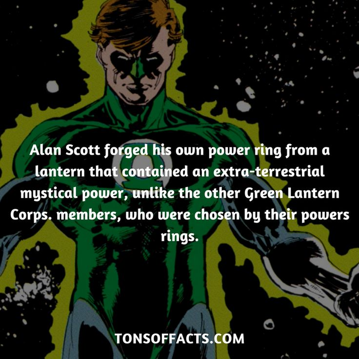 Alan Scott forged his own power ring from a lantern that contained an extra-terrestrial mystical power, unlike the other Green Lantern Corps. members, who were chosen by their powers rings. #greenlantern #justiceleague #comics #dccomics #interesting #fact #facts #trivia #superheroes #memes #1