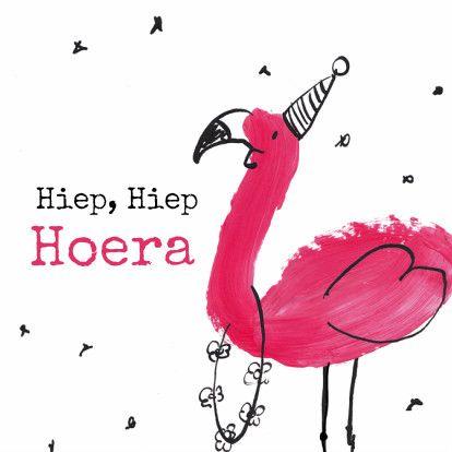 Verjaardagskaart Flamingo, verkrijgbaar bij #kaartje2go voor €1,79