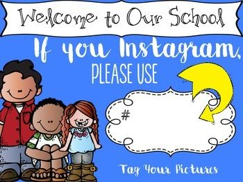 Are you having a school or class event and want to share pictures with the parents? Here is an INSTAGRAM sign that you can personalize for your class event or school. Great for Back to School, end of year Awards Programs, Field Day events, Open House, School Assemblies, and/or School Programs.