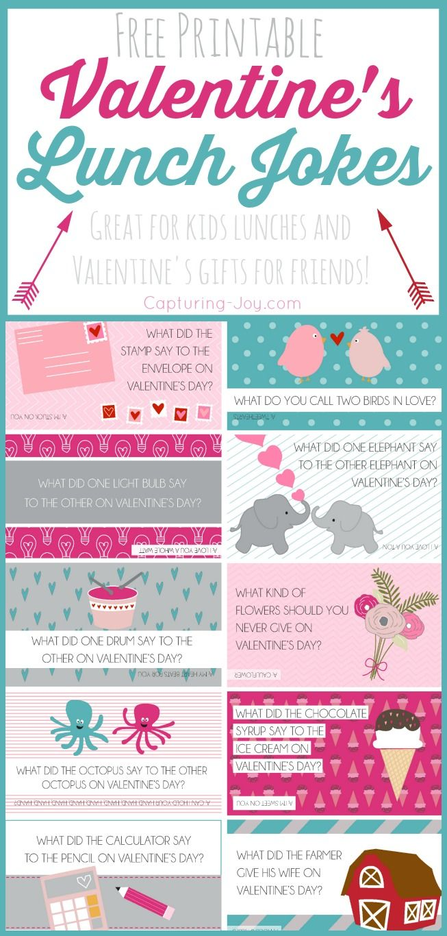 Free Printable Valentine's Day Lunch Jokes, great for something fun for your kids, also great to pass out to classmates!