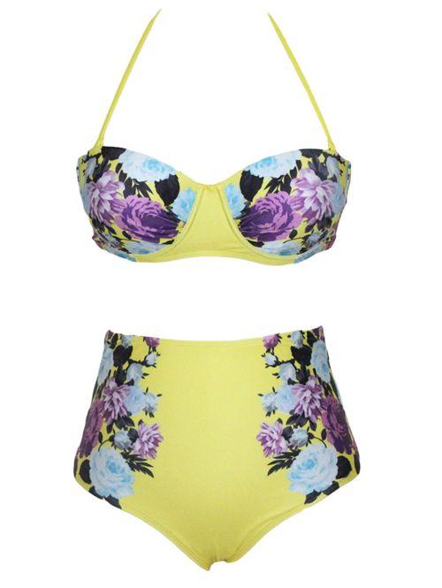 Vintage floral print high waist fashion women swimwear YR-LC41291