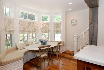 Built In Banquette Design Ideas, Pictures, Remodel, and Decor - page 15 -- interesting window treatment option