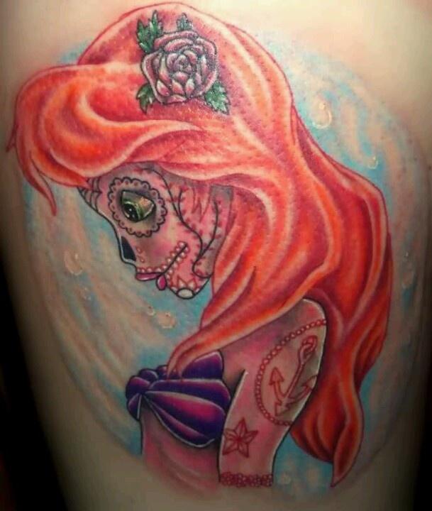 I want a Ariel tattoo!Little Mermaids, Sugar Skull Tattoo, Disney Princesses, Disney Tattoo, Sugar Kull, Little Mermaid Tattoo, Arm Tattoo, Ariel Tattoo, Ink