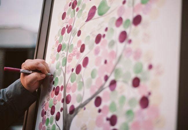 Deseneaza crengile unui copac pe o coala de hartie mare si fiecare invitat isi lasa amprenta la propiu si numele sau o urare pentru miri.