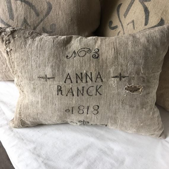 Antique Grain Sack Pillow/ 1818