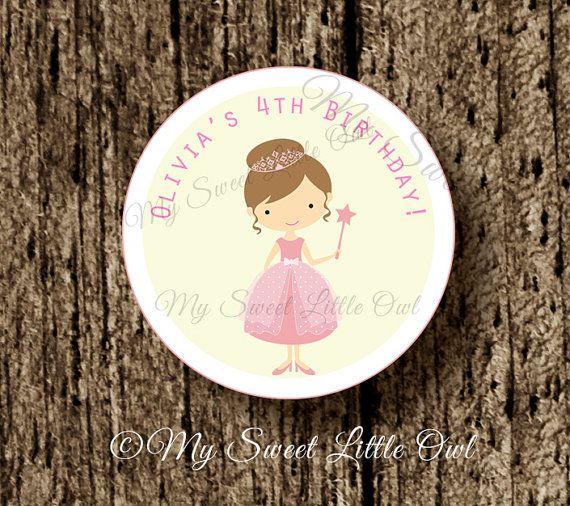 Principessa etichetta - principessa autoadesivo - compleanno principessa - rosa principessa bambino doccia - principessa stampabile - cupcake principessa rosa cappello a cilindro