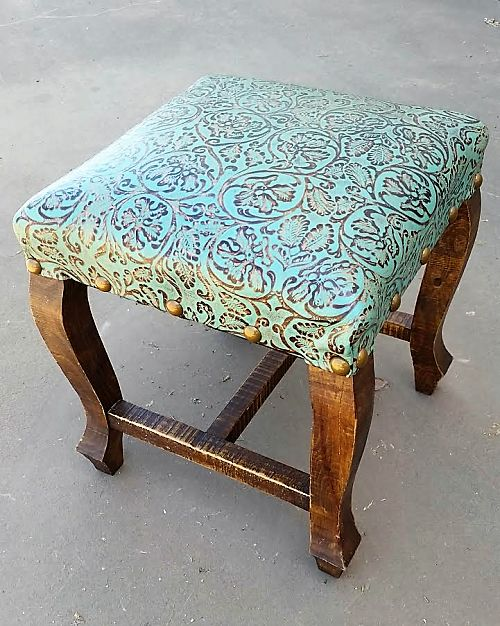 Turquoise Ottoman - Small Tooled Leather Ottoman - Western Furniture