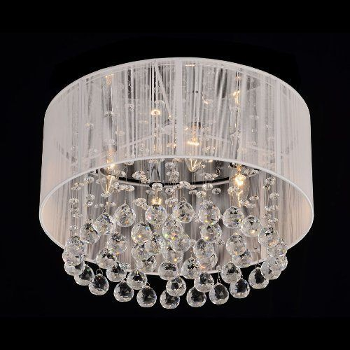 Modern Drum Crystal Chandelier > $95.00 Chrome, White Color, 3 Lights - Chandelier Top: Cheap Chandeliers under $100, Chrome Chandeliers, Crystal Chandeliers, Drum Shade Chandeliers, Metal Chandeliers, Mini Chandeliers, Modern/Contemporary Chandeliers, Round Chandeliers, White Chandeliers